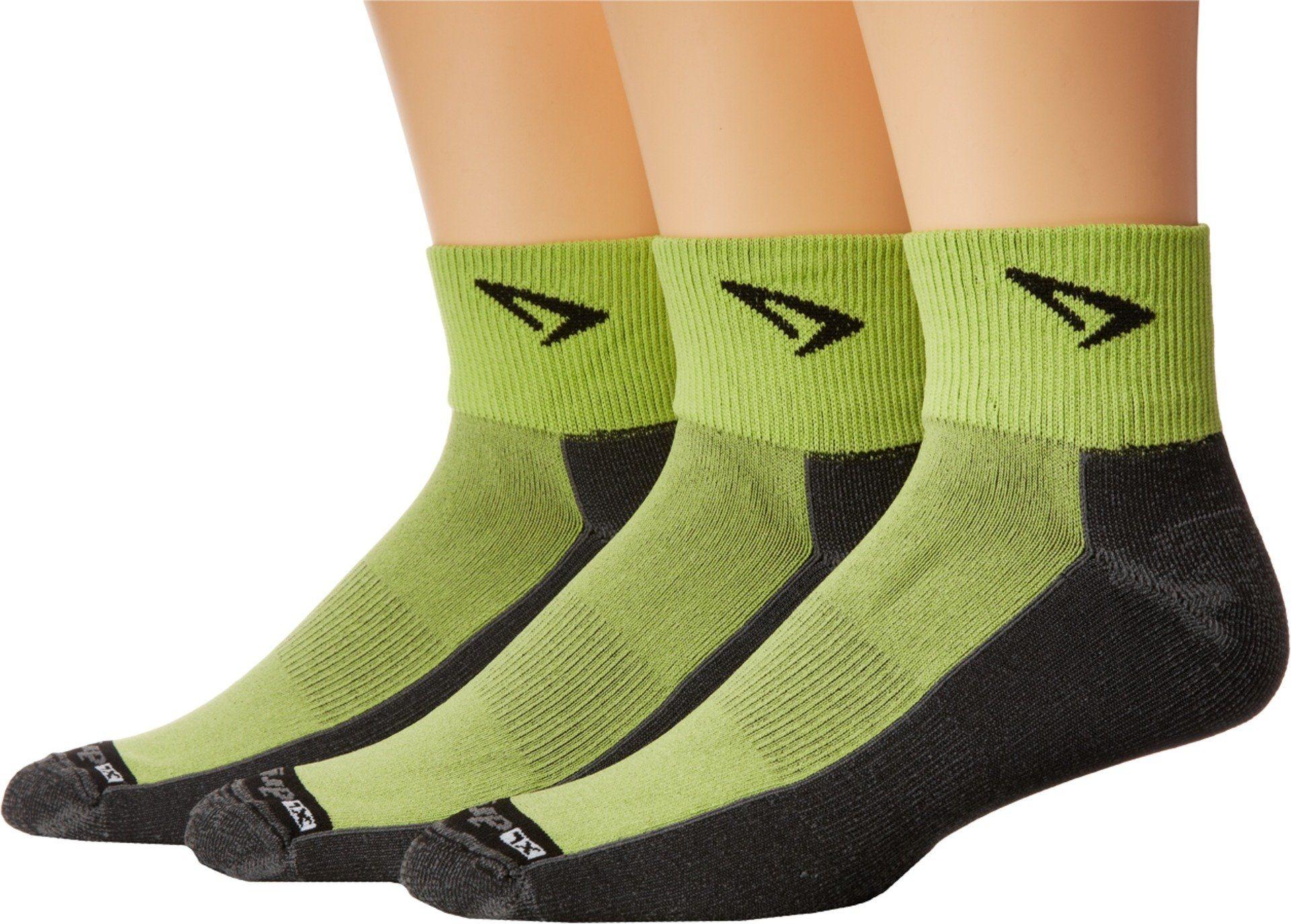 80e2e41952 Drymax Sport Unisex Lite Trail Running 1/4 Crew Turn Down 3-Pair Pack Lime  Green/Gray Socks LG (Men's Shoe 8.5-10.5, Women's Shoe 10-12)