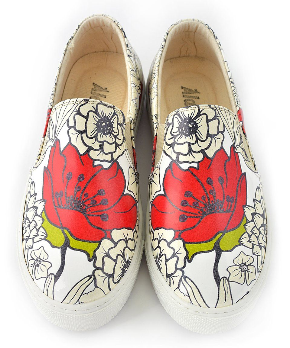 Take a look at this White & Red Coloring Book Flowers Slip-On ...