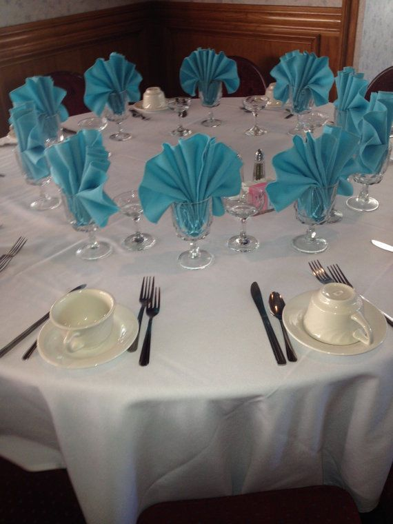 NEW Tiffany Blue DINNER CLOTH WEDDING NAPKINS 19 X19 SET 8