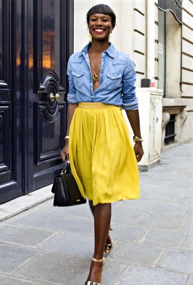 tendência – Mixed In - yellow & jeans