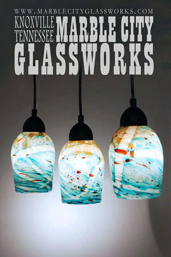 Custom order final payment turquoise speckled pendants blown marble city glassworks hand blown glass lights would look perfect over a bar aloadofball Images