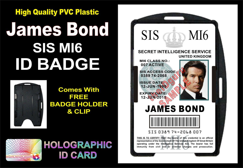 The Enchanting Mi6 Id Card Template James Bond 007 Mi5 Id Badge Card Gt Intended For Mi6 Id Id Card Template Card Template Birthday Card Template Free