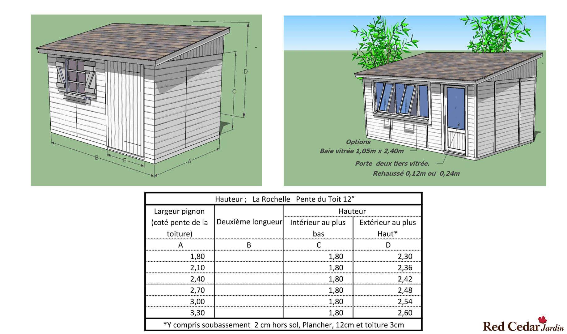 Construire Plancher Abri De Jardin modèle la rochelle, abri de jardin une pente - red cedar