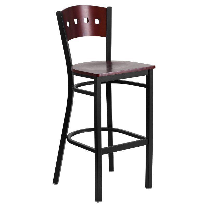 Flash Furniture Hercules Metal Bar Stool - Mahogany - XU-DG-60515-MAH-BAR-MTL-GG
