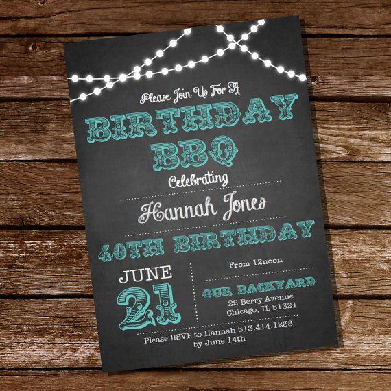 chalkboard bbq birthday invitation 16th 20th 21st 25th 30th 40th