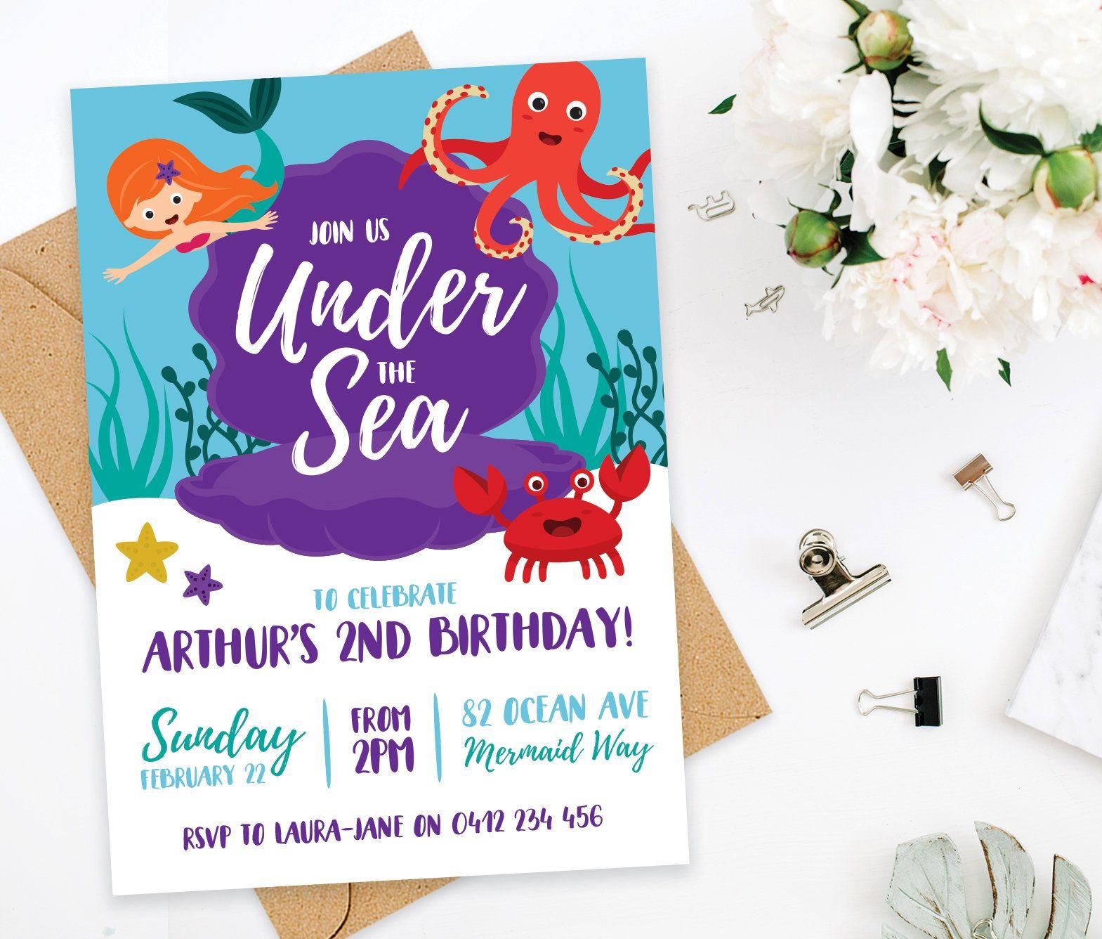 Mermaid Birthday Invitation, Under The Sea Invitation, Under The Sea ...