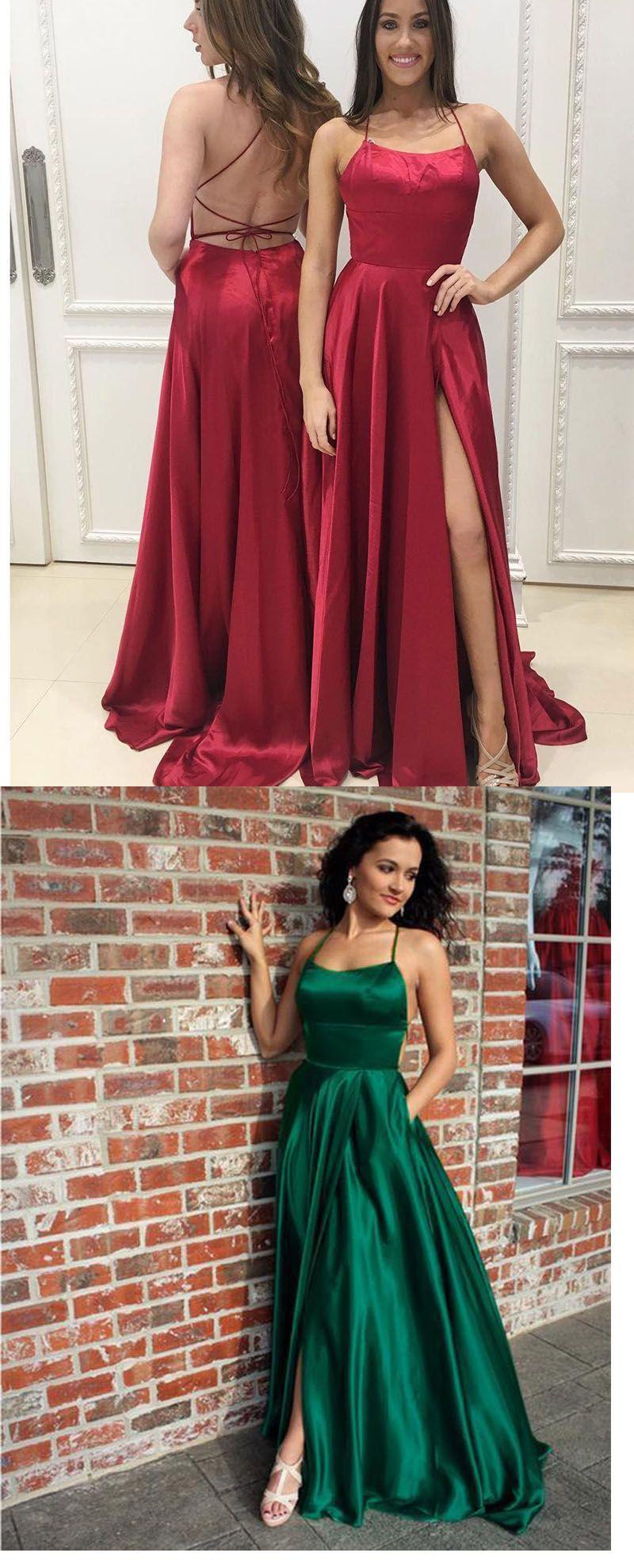 Red bluegreen halter senior prom dresses long sexy slit girls