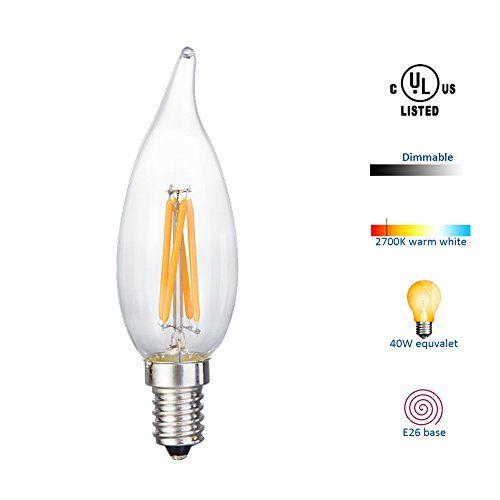 Hamlite Led Candelabra Bulbs E12 Small Base Dimmable 40 Watt Equivalent Soft White 2700k Edison Vintage Fi Led Candelabra Bulbs Filament Bulb Lighting Led Bulb
