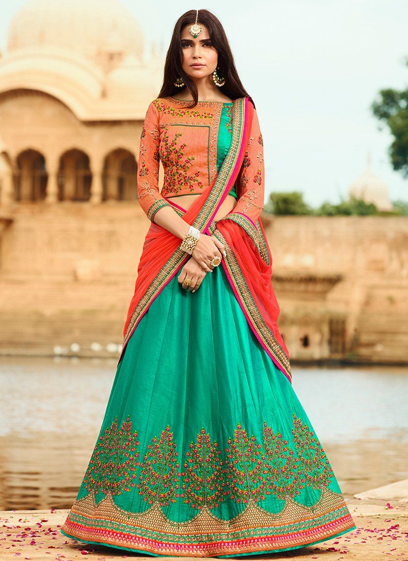 Green and Pink Embroidered Silk Lehenga in Women clothing