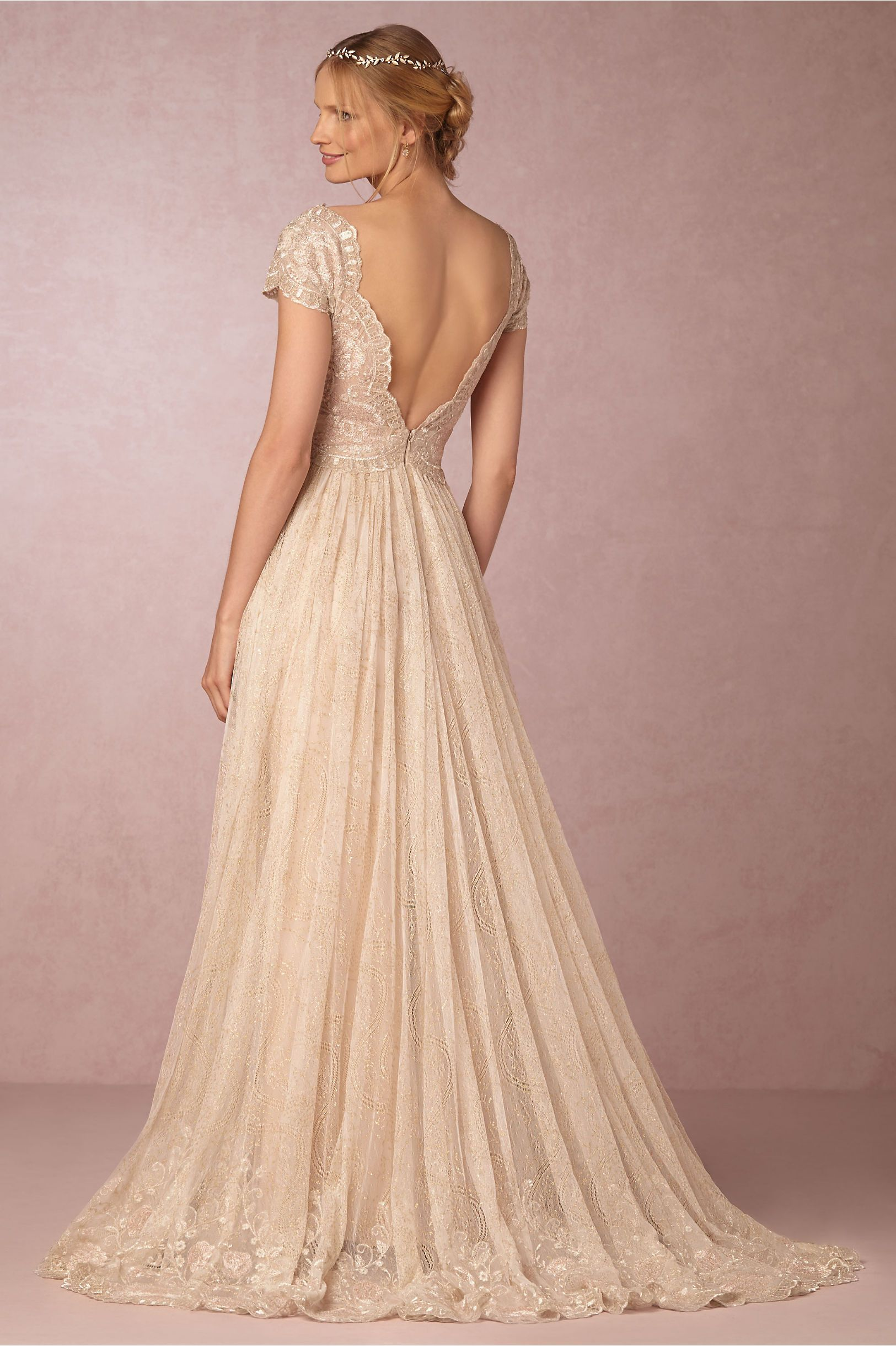 Ivory cotton lace with metallic detail poly lining kensington gown