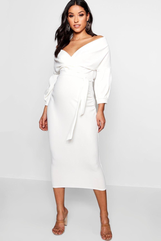 Women S Maternity Off The Shoulder Wrap Midi Dress Boohoo Uk White Maternity Dresses Petite Maxi Dress White Midi Dress