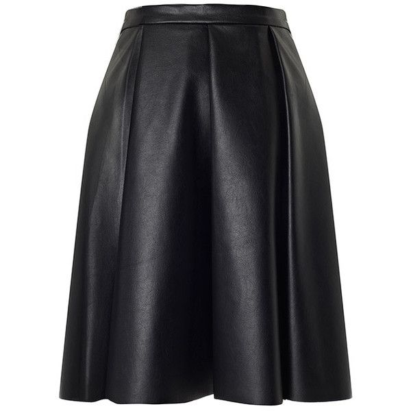 Bailey Skater Skirt (370 BRL) ❤ liked on Polyvore featuring skirts, bottoms, black, circle skirts, leather skater skirt, pleated skater skirt, pleated circle skirt and pleated skirt