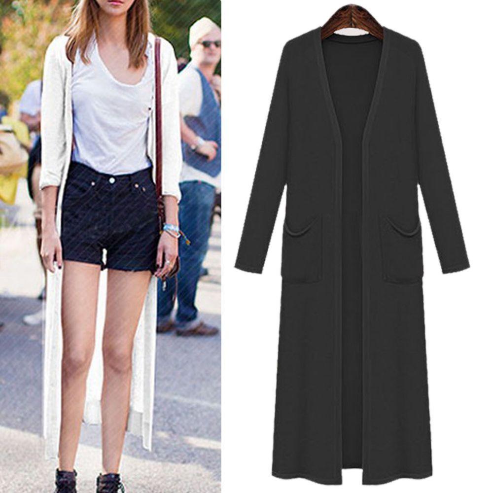 New women ladies long knit coat jacket dress long sleeve au size
