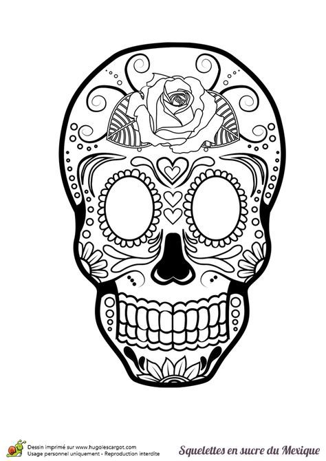 Sugar skull coloring page | Sugar Skulls + Day of the Dead Coloring ...
