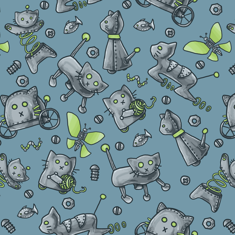 Robot+Cats+fabric+by+karmakazi+on+Spoonflower+-+custom+fabric