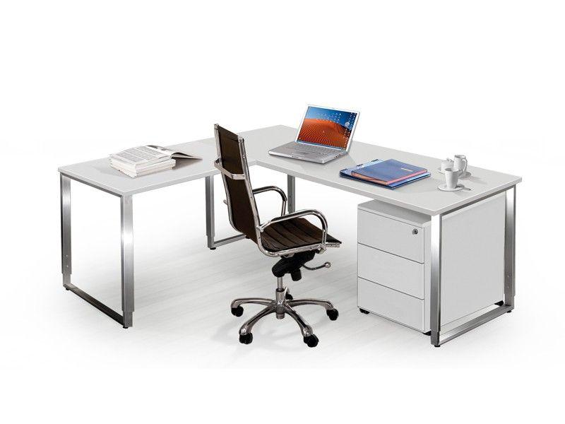 Schreibtisch büro weiß  Schreibtisch höhenverstellbar weiß lichtgrau mit Rollcontainer ...