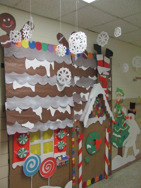 Winter Holiday Classroom Door Decorations : Gingerbread house winter wonderland classroom door