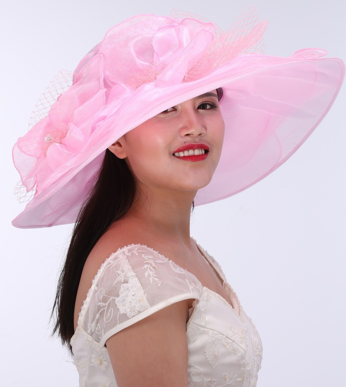 c4fe27ccd Wide Brim Organza Two Flowers With Rhinestones Pink Church Hat ...