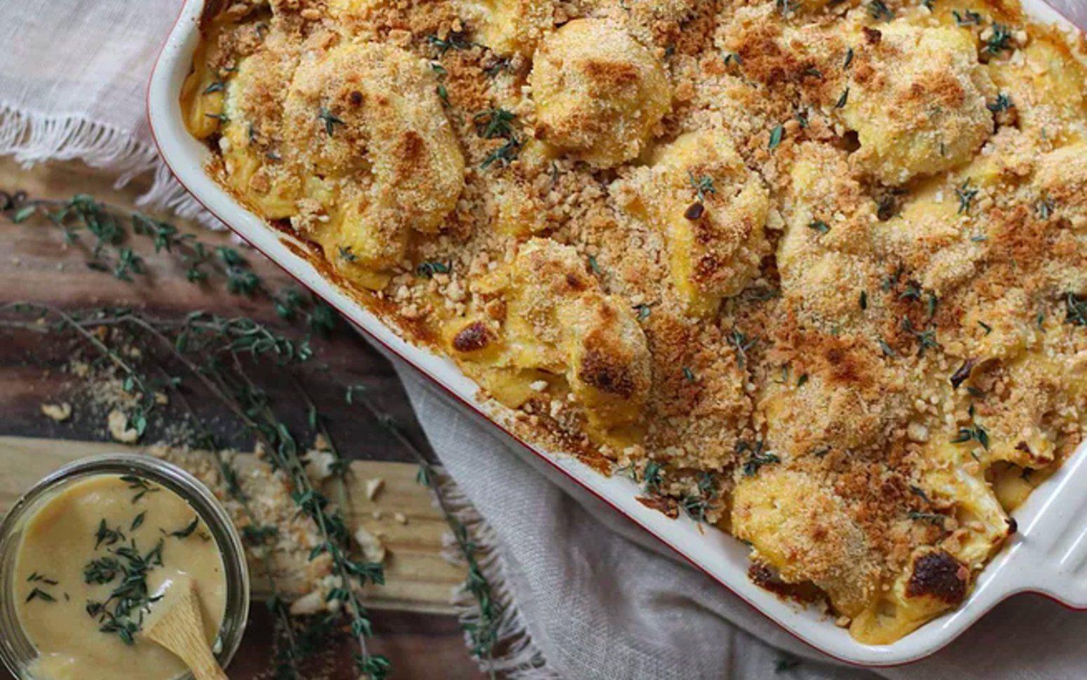 Cheesy Cauliflower Bake With Bread Crumbs And Thyme Vegan Gluten