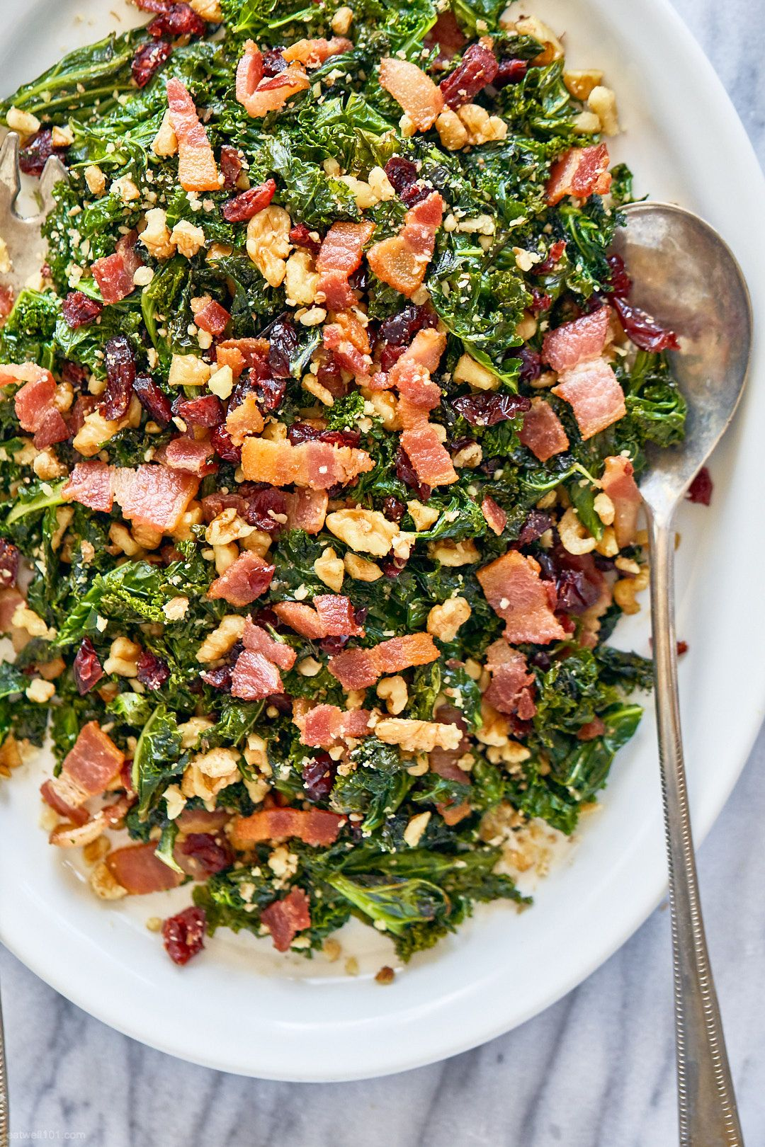 Healthy Sauteed Kale Salad Recipe With Bacon Walnuts And Cranberries Kale Salad Recipe Sauteed Kale Easy Kale Recipes Beef Pasta Recipes