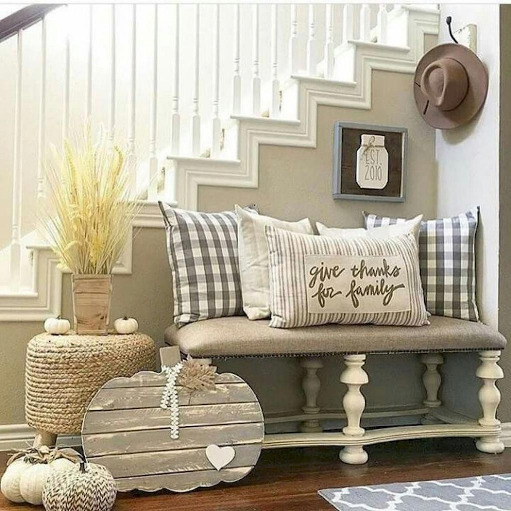 80 Modern Farmhouse Staircase Decor Ideas: Bench Seat By The Stairs For Shoe Storage Too Insane