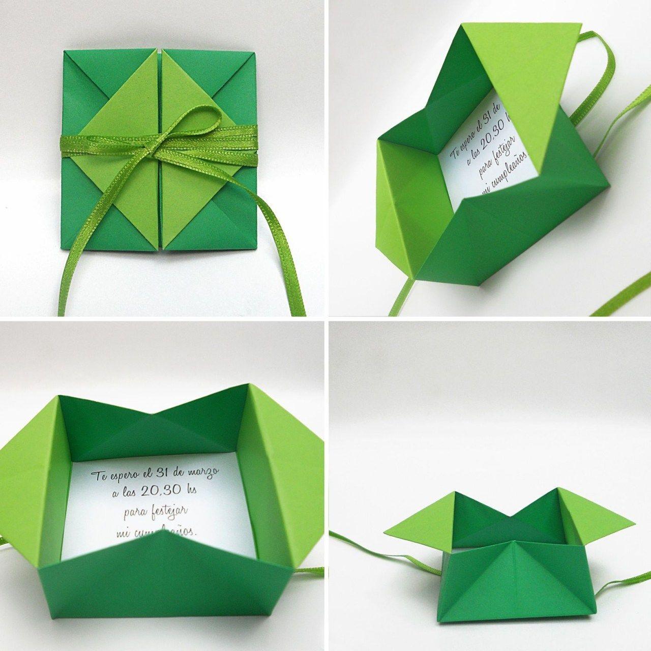 Открытка с карманом оригами