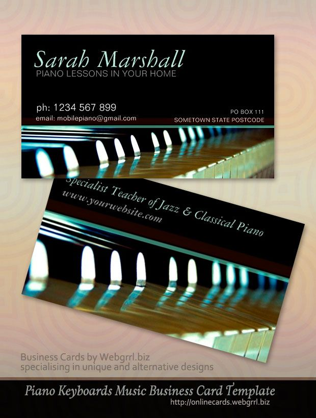 Customizable Music Themed Business Cards Piano Keyboards Music - Music business card template