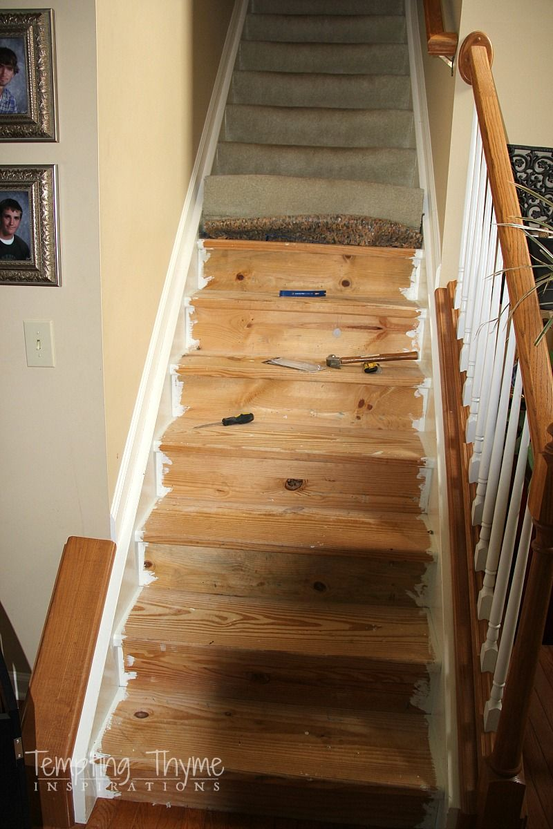 Best Diy Carpet Removal Pine Stairs Our Basement With Images 400 x 300