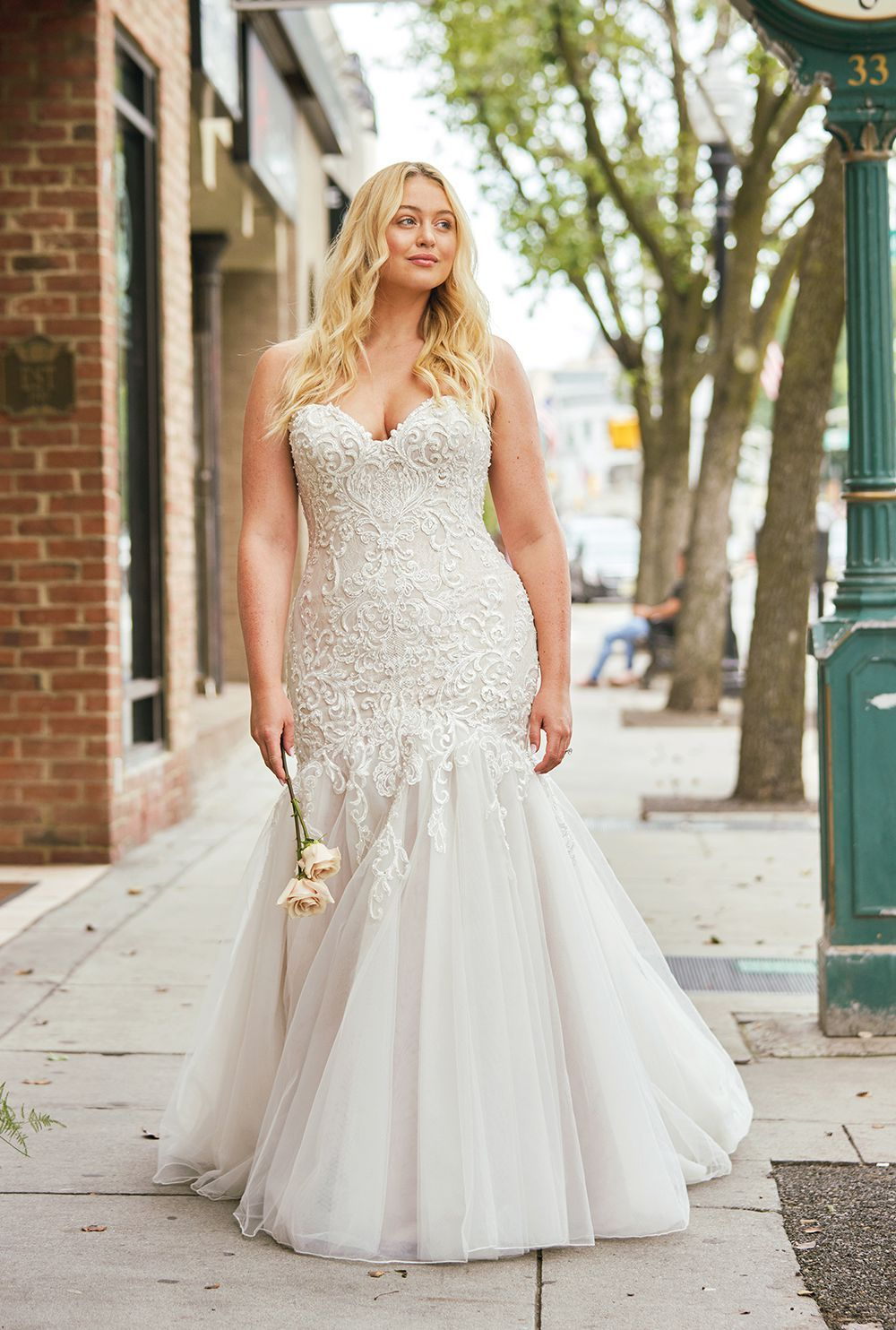 Dropped Waist Trumpet Gown in 2019 White bridal dresses