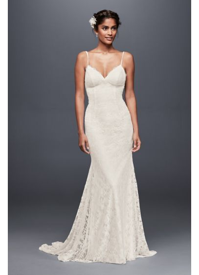 Soft Lace Wedding Dress With Low Back Wg3827 5 Year Renew The Vows