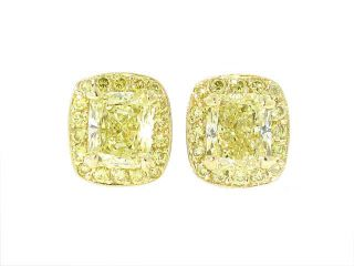 Michael Beaudry Yellow Diamond Earrings in Platinum and 18K Yellow Gold - Gorgeous Fancy Yellow diamonds a little over 1 carat per earring.