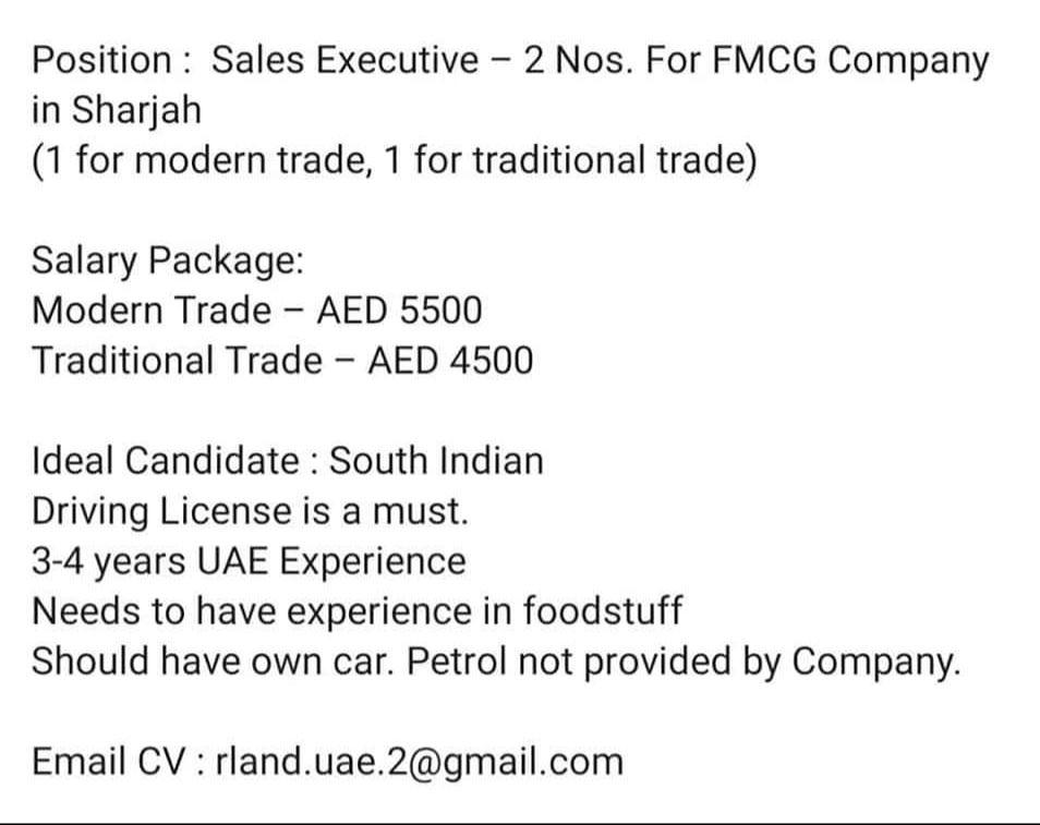 Pin On Sales Executive Job In Uae