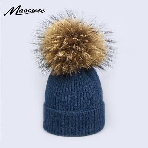 ead332232fb 2018 Natural Raccoon Fur Pompon Hat Thick Winter for Women Cap Beanie Hats  Knitted Cashmere Wool Caps Female Skullies Beanies