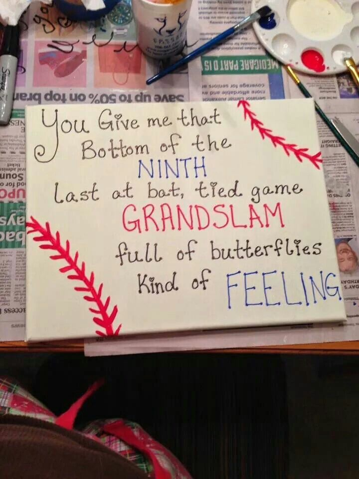 yes but write it around the baseball not on a canvas | diy | Pinterest
