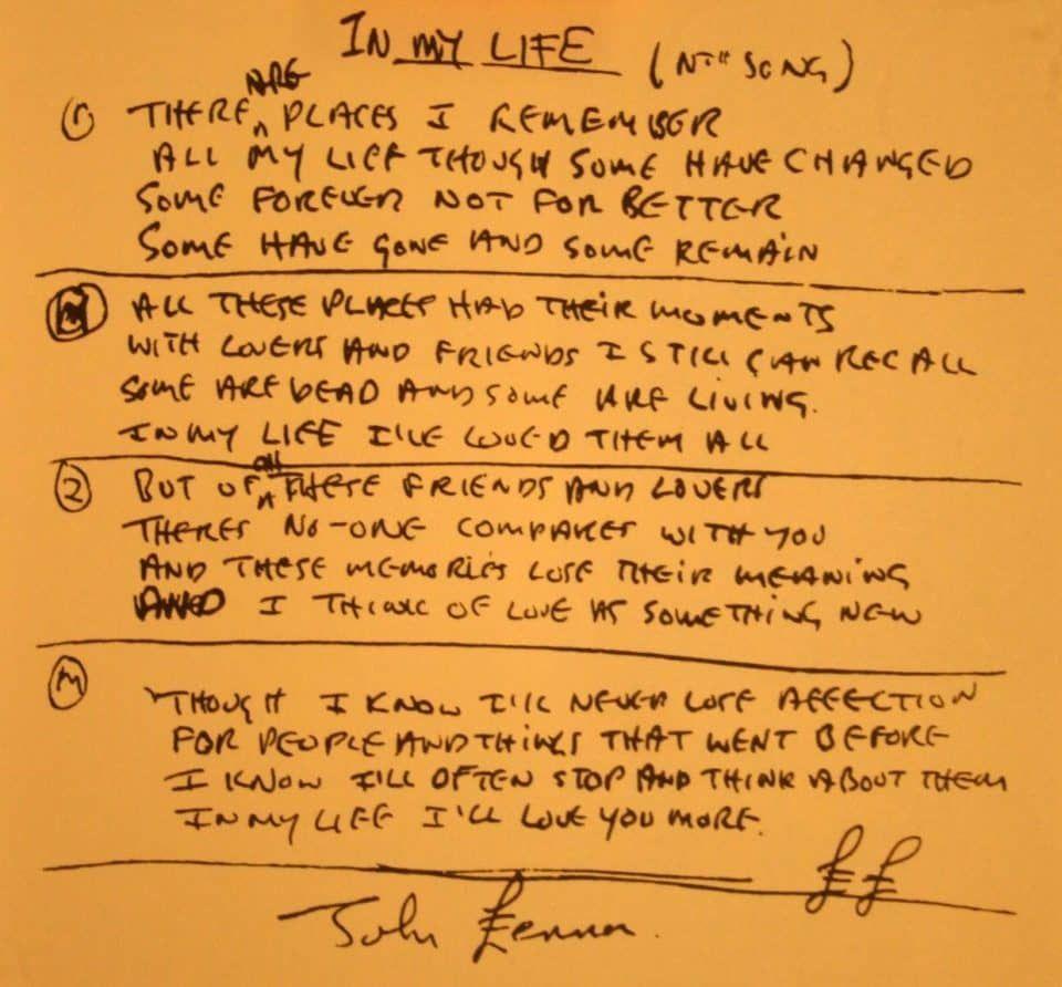 In My Life Beatles Lyrics The Beatles Beatles Songs