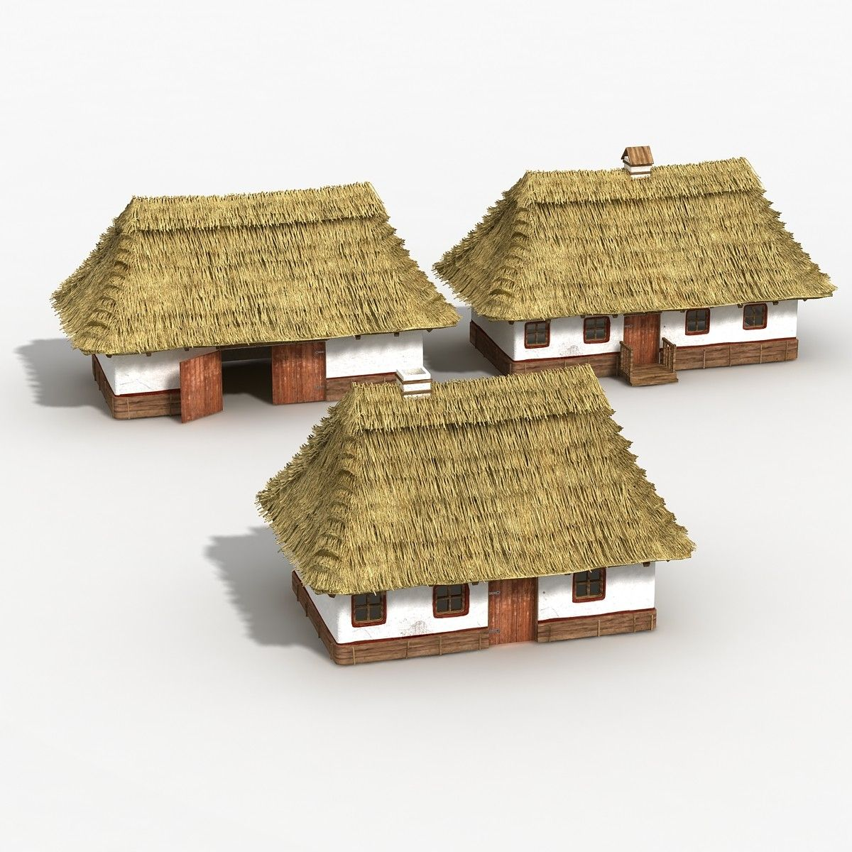 3D Village Houses Model - 3D Model | Thatched roof, thatch