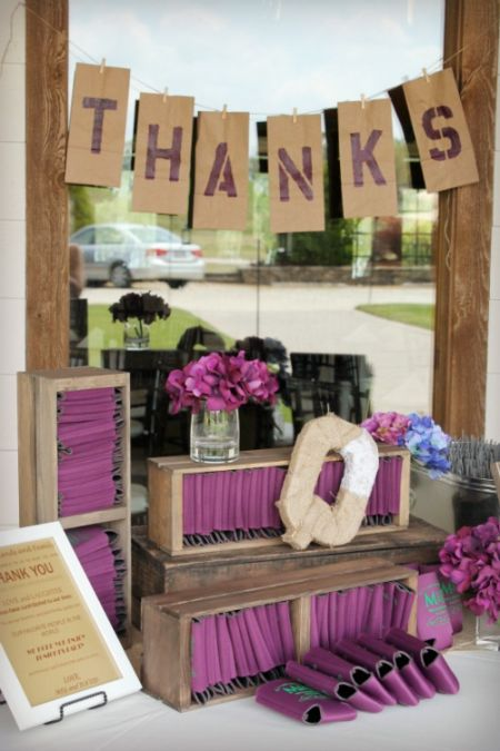 This Koozie Display Will Not Be Overlooked See More Wedding Favor Koozies And Party Ideas