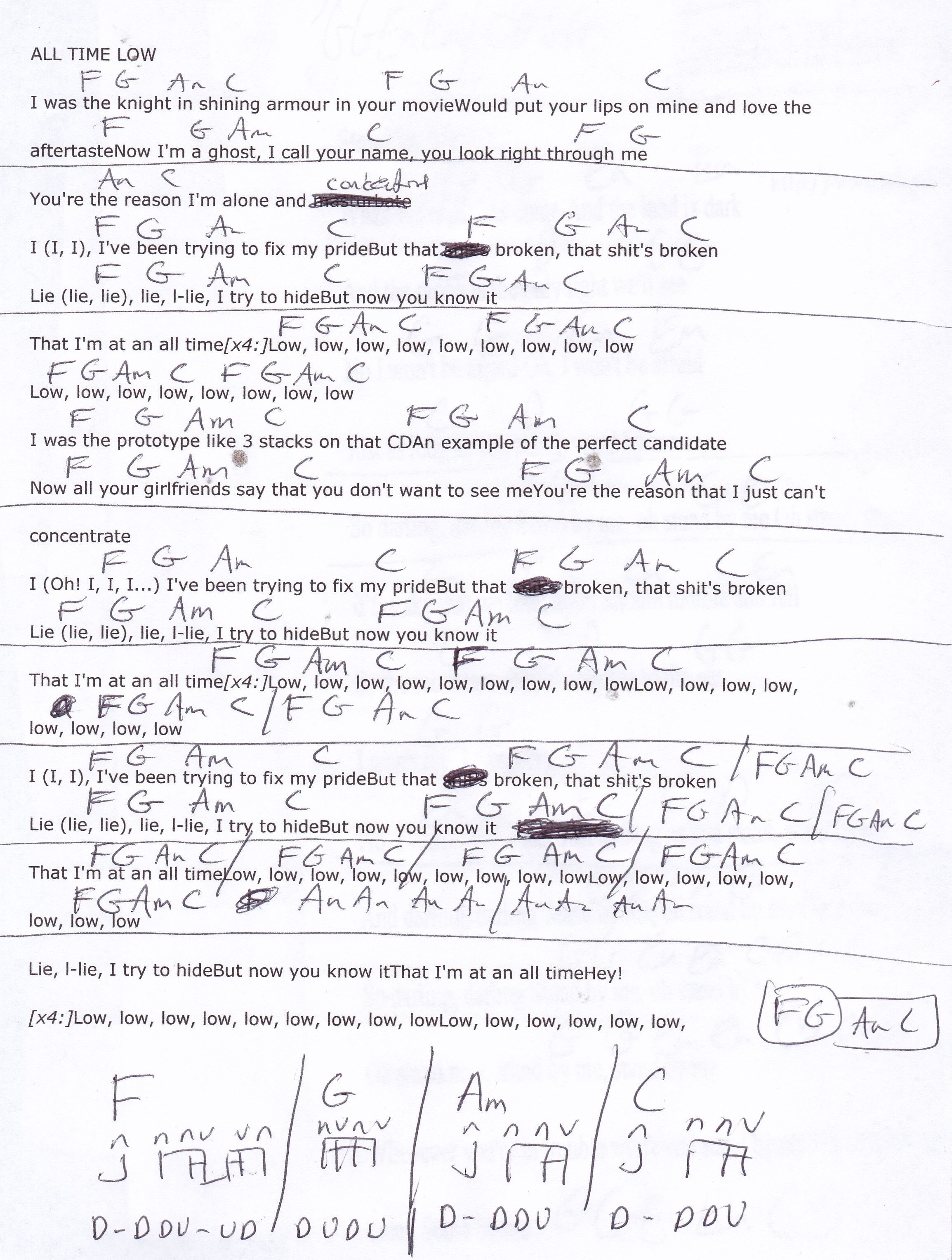 All Time Low Jon Bellion Guitar Chord Chart Ukulele In 2018