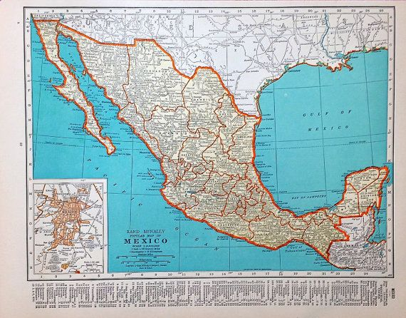 Mexico Map Vintage Map Of Mexico Original Atlas By 815vintagegoods