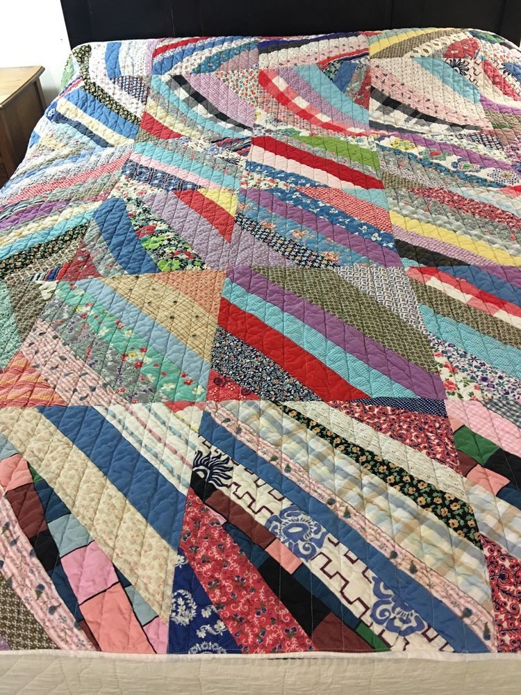 """COLORFUL VINTAGE HANDMADE LARGE SCRAPPY SQUARES QUILT 70"""" X 80 ... : quilted squares - Adamdwight.com"""