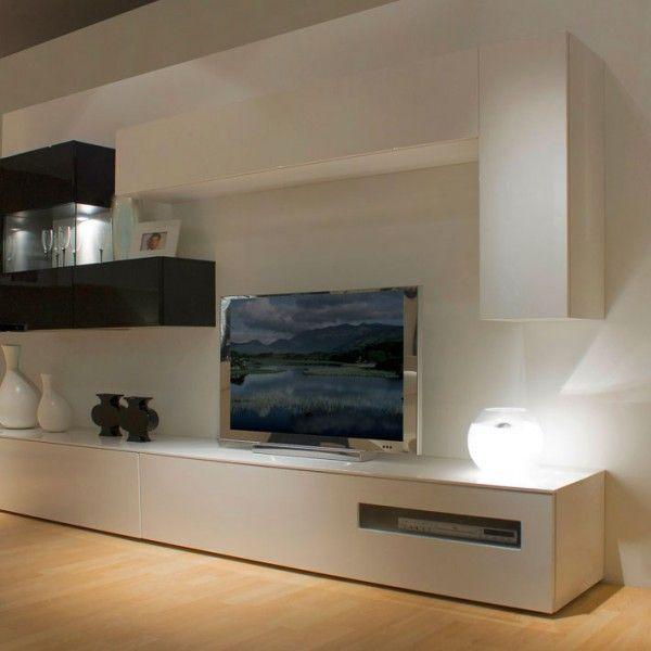 Mueble de diseo minimalista blanco y negro sala Pinterest Room