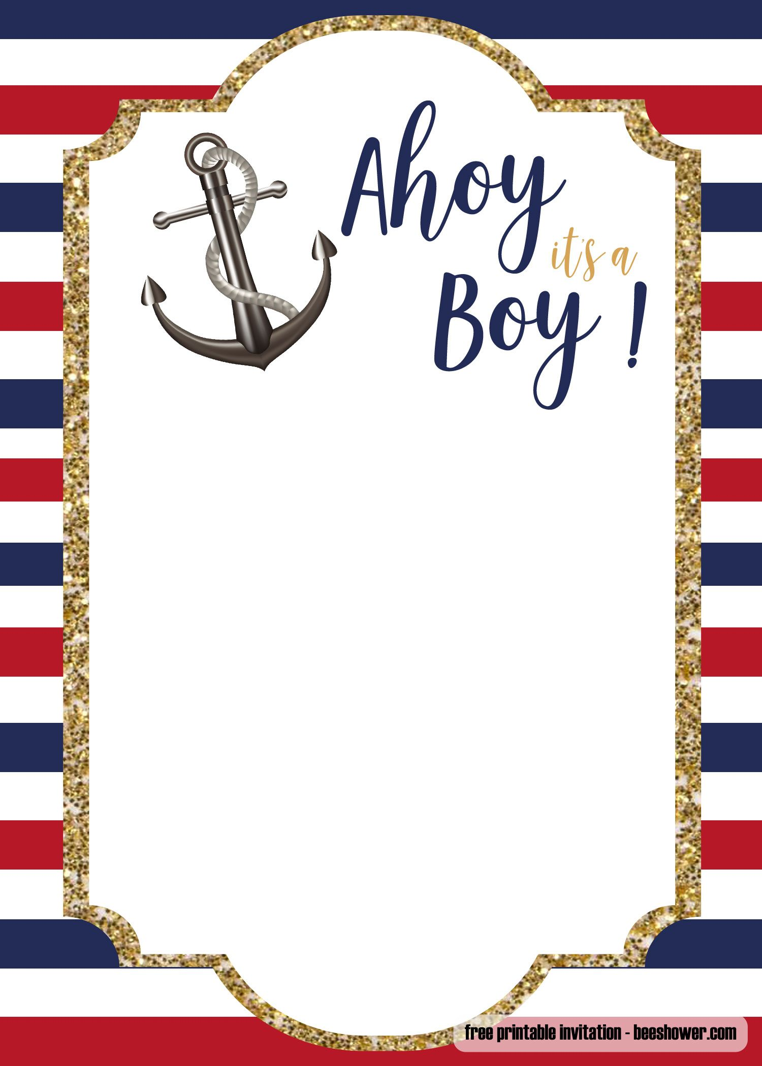 FREE Nautical Baby Shower Invitations Templates  Nautical baby