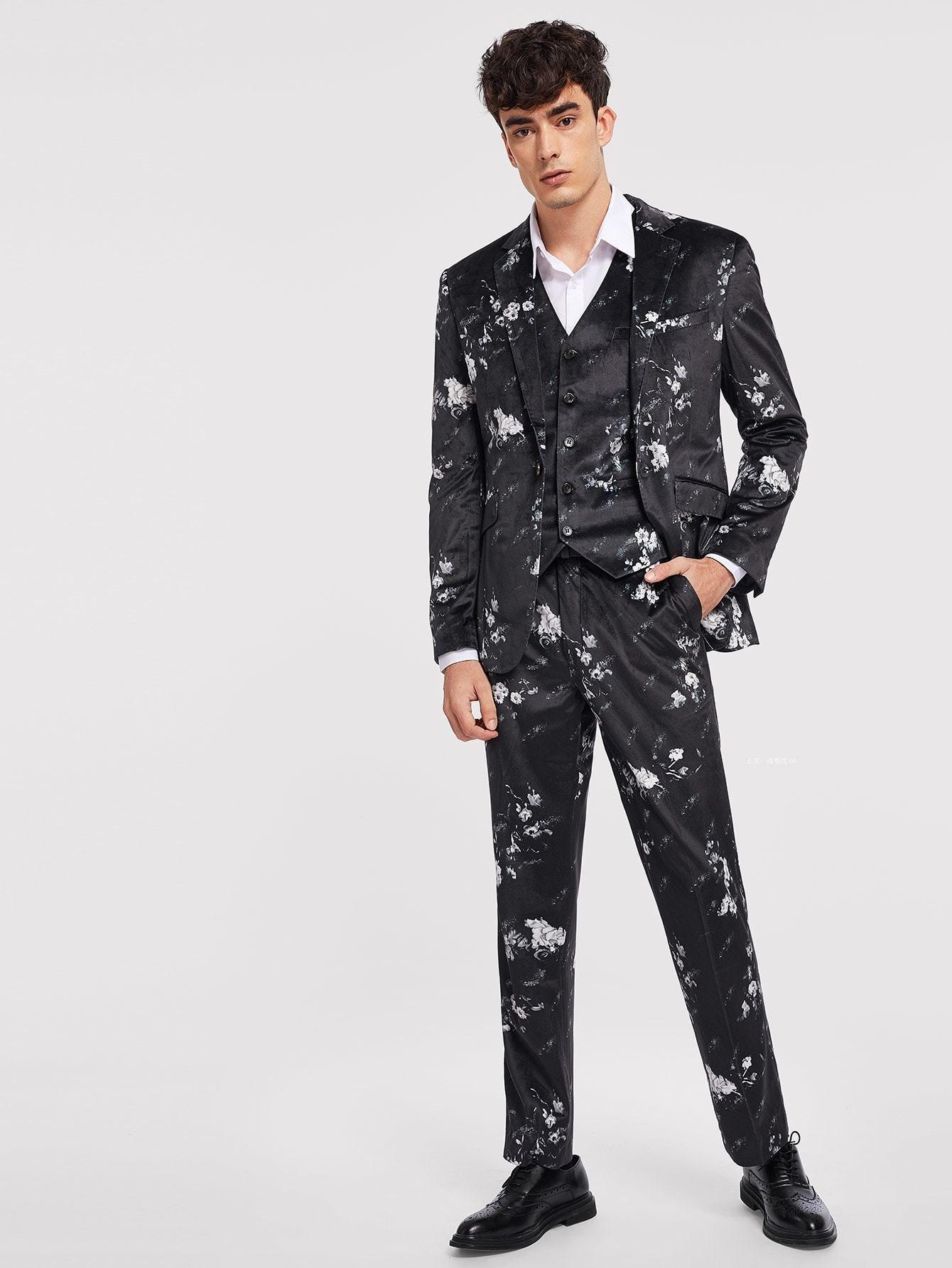 Men floral print velvet blazer u pants u waistcoat in