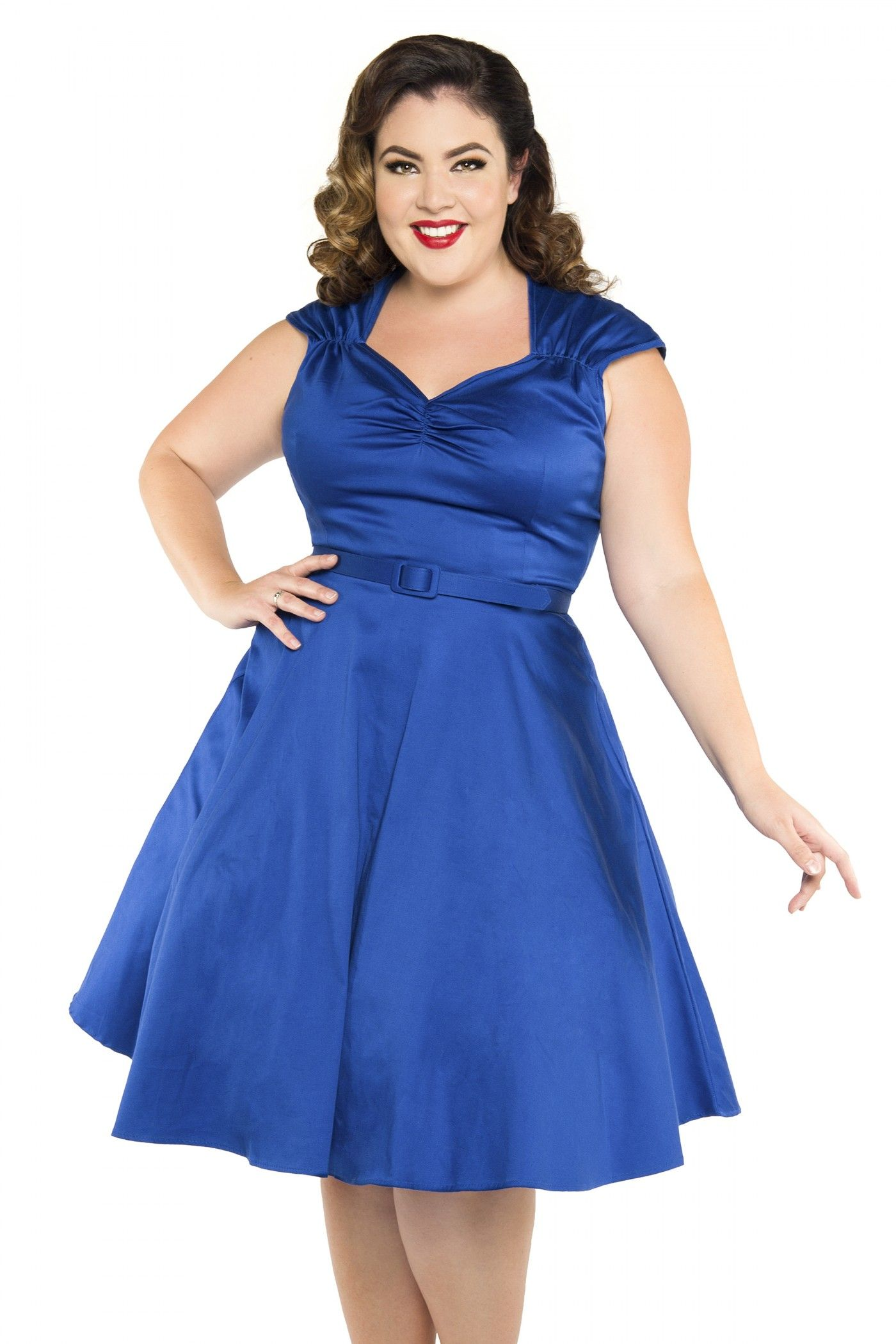 Pinup Couture Heidi Dress in Royal Blue Plus Size