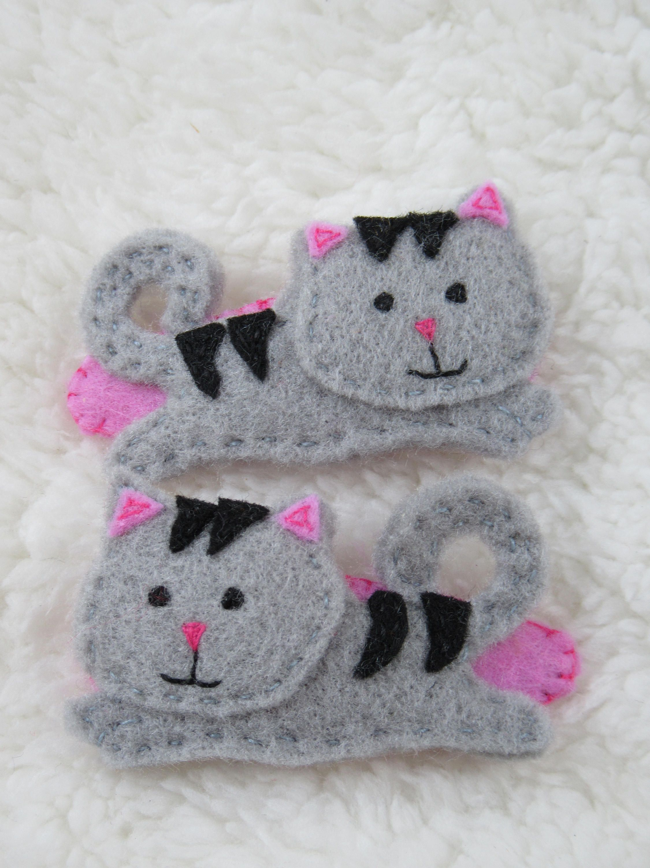 Valentine gift for her cat lover gifts statement hair clips,felt snap clip Cute cat handmade felt hair clips for baby toddler girl women