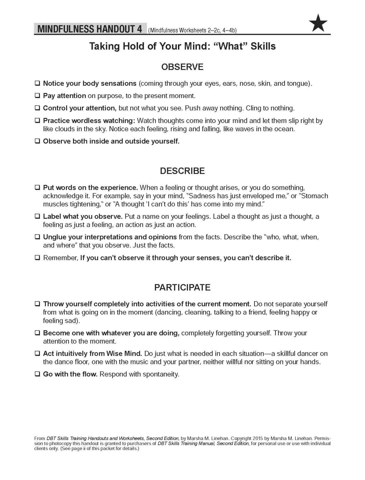 Mindfulness Handout 4 Work Related Counseling Worksheets
