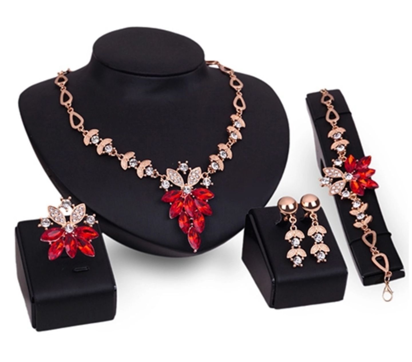 New Elegant Look Luxurious Gold Plated Necklace Set 4 pieces 3 Colors