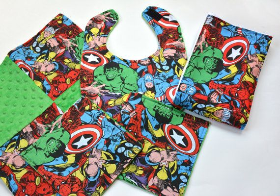 Marvel Baby Bib Set Baby Security Blanket by CreativeQuiltsAndEtc