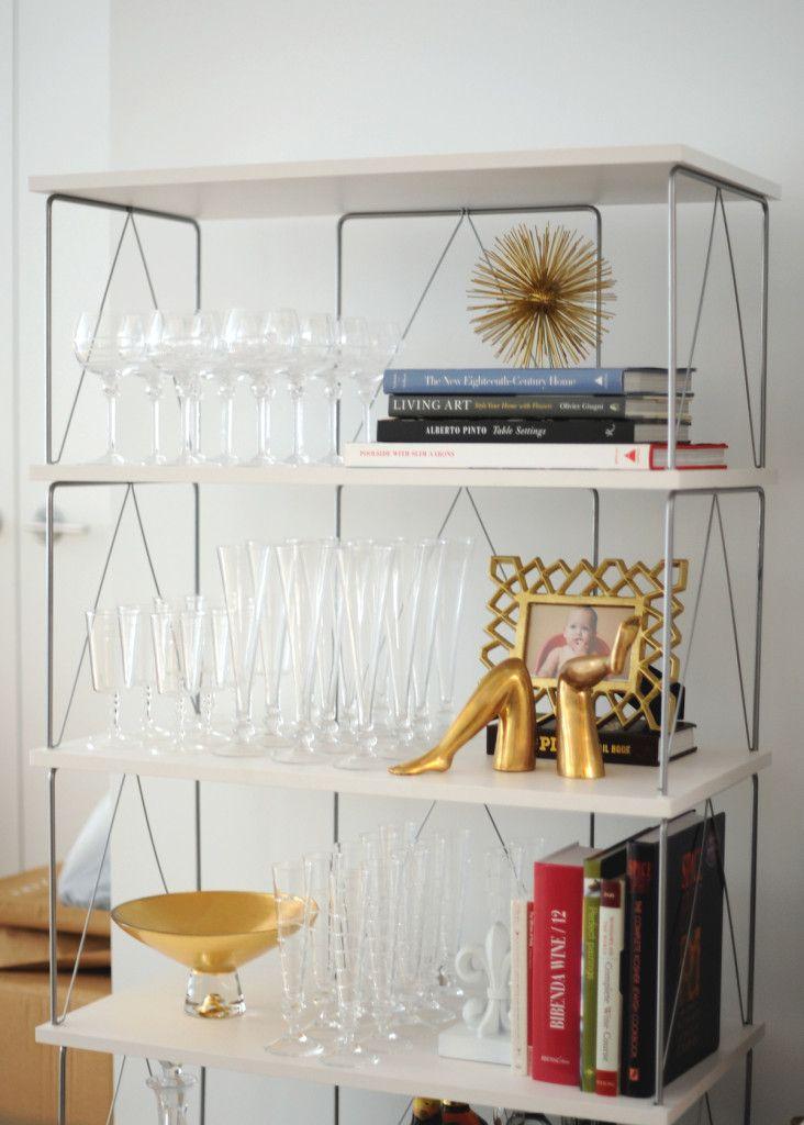 Glassware Storage White Shelves Container Store Wendel 5 Shelf Etagere  Coffee Table Books Juliska Wine