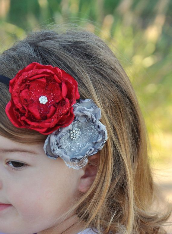 Christmas Headbands For Girls.Red And Silver Flower Headband Christmas Headband Holiday